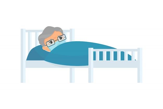 Uomo anziano malato con la maschera medica nell'illustrazione piana del letto di ospedale. nonno con personaggio dei cartoni animati di malattia da virus. paziente rilassante sotto coperta