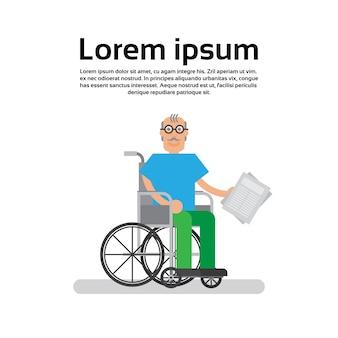 Uomo anziano su sedia a rotelle nonno