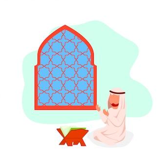 Uomo arabo che prega l'illustrazione piana di vettore