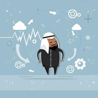 Uomo arabo di affari che mostra rapporto del grafico del grafico di finanza