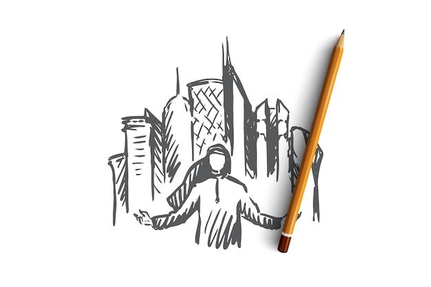 Uomo arabo disegnato a mano e grattacieli sullo schizzo di concetto del fondo