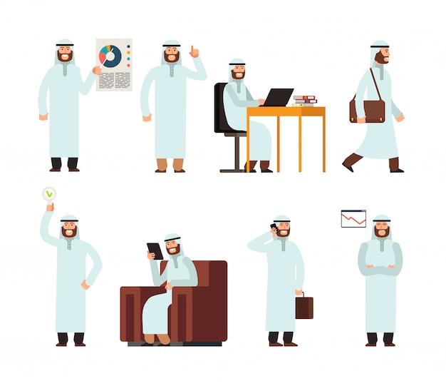 Uomo arabo in abiti etnici sauditi islamici tradizionali in diverse situazioni aziendali