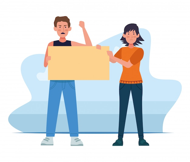 Uomo arrabbiato e donna del fumetto che tengono una posta in bianco sopra bianco