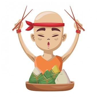 Uomo asiatico con gnocchi di riso