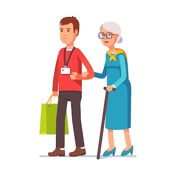 Uomo assistente sociale assistente anziano donna dai capelli grigi
