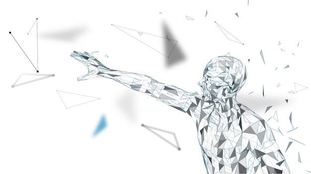 Uomo astratto concettuale che tocca o che punta a qualcosa. linee collegate, punti, triangoli, particelle. concetto di intelligenza artificiale. vettore di alta tecnologia, sfondo digitale. 3d rendering vettoriale