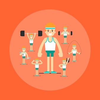 Uomo atletico che fa esercizio, insieme dell'illustrazione