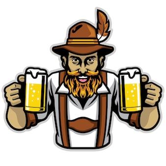 Uomo bavarese barbuto che tiene un paio di vetro della pinta di birra