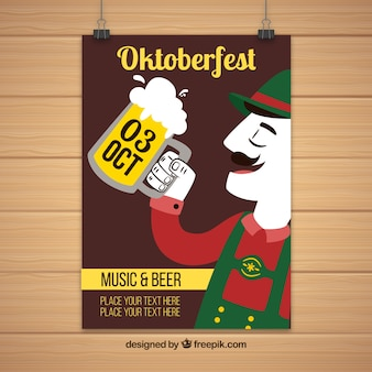 Uomo bere birra nel oktoberfest