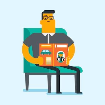 Uomo bianco caucasico che legge una rivista.
