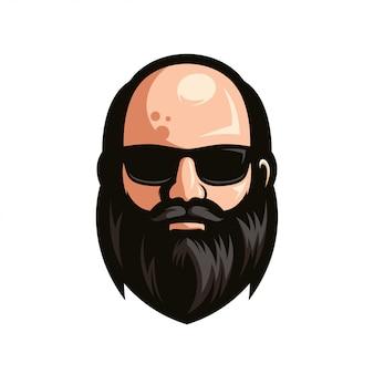 Uomo calvo con la barba che indossa occhiali da sole