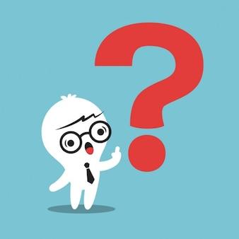 Uomo cartone animato affari con un punto interrogativo rosso