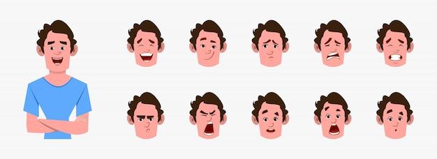 Uomo casual personaggio dei cartoni animati con diversi set di espressioni facciali. diverse emozioni facciali per animazioni personalizzate