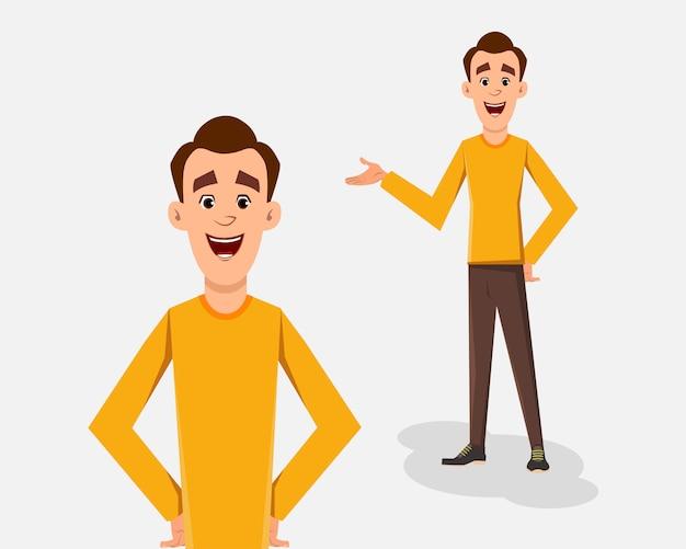 Uomo casuale nell'illustrazione di vettore di posa stante per la vostra progettazione, moto o animazione