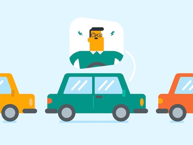 Uomo caucasico arrabbiato in automobile bloccata in ingorgo stradale.