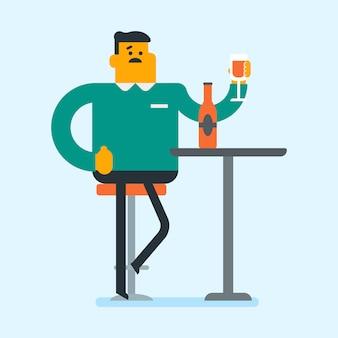 Uomo caucasico che beve un cocktail nel bar.