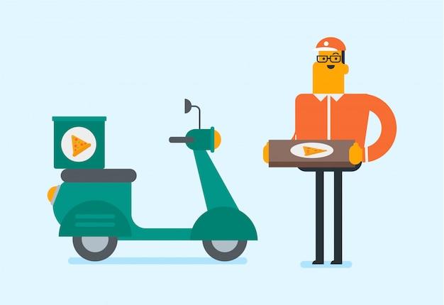 Uomo caucasico che consegna pizza sullo scooter.