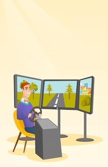 Uomo caucasico che gioca video gioco con la rotella di gioco