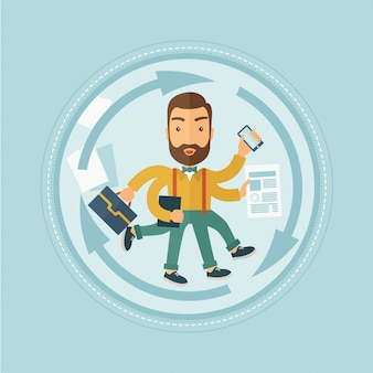 Uomo che affronta il multitasking
