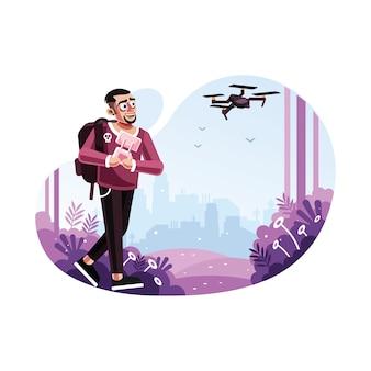 Uomo che aziona un drone con telecomando