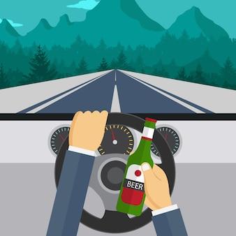 Uomo che beve birra e guida auto