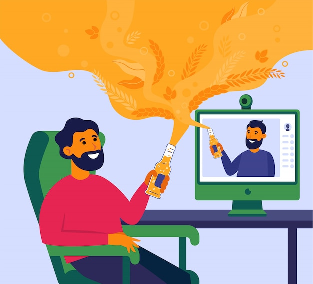 Uomo che beve birra online con il suo amico