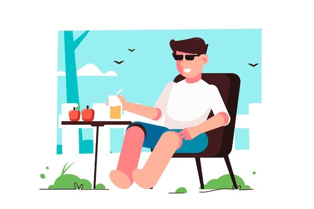 Uomo che beve nel concetto di soggiorno del giardino