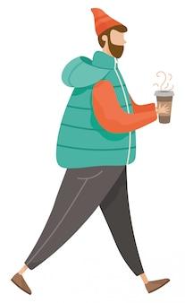 Uomo che cammina da solo, hipster con bevanda calda, caffè