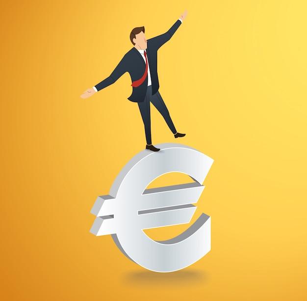 Uomo che cammina in equilibrio sull'euro icona