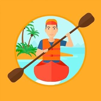Uomo che cavalca in kayak.