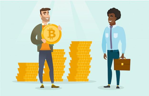 Uomo che chiede investitori per bitcoin per la sua startup.