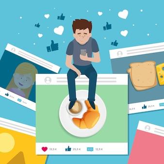 Uomo che condivide contenuti sui social media