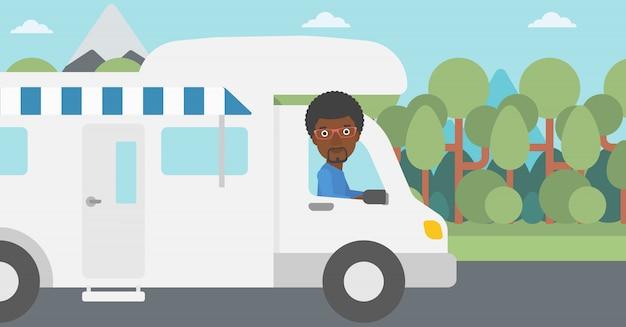 Uomo che conduce l'illustrazione di vettore della casa mobile.