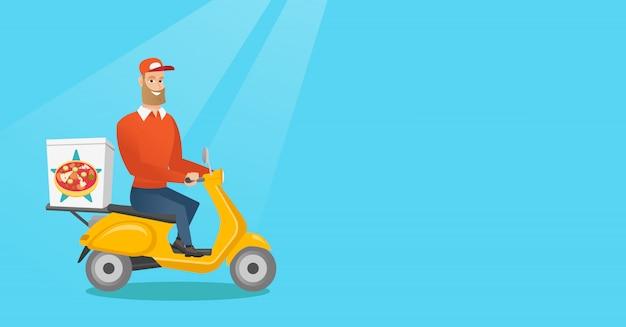 Uomo che consegna la pizza su scooter.