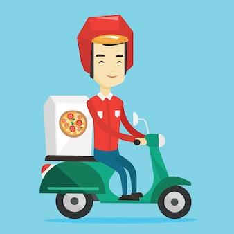 Uomo che consegna pizza su scooter.