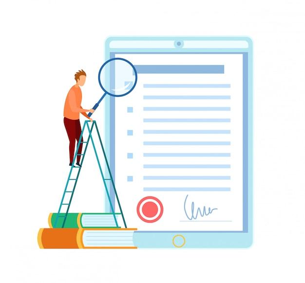 Uomo che controlla l'illustrazione piana del contratto d'affari