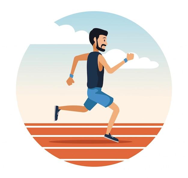 Uomo che corre su icona rotonda pista