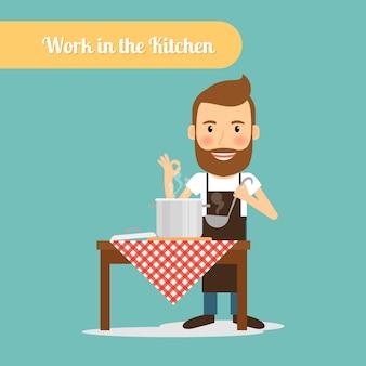 Uomo che cucina in cucina