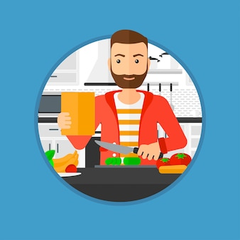 Uomo che cucina insalata di verdure sana.