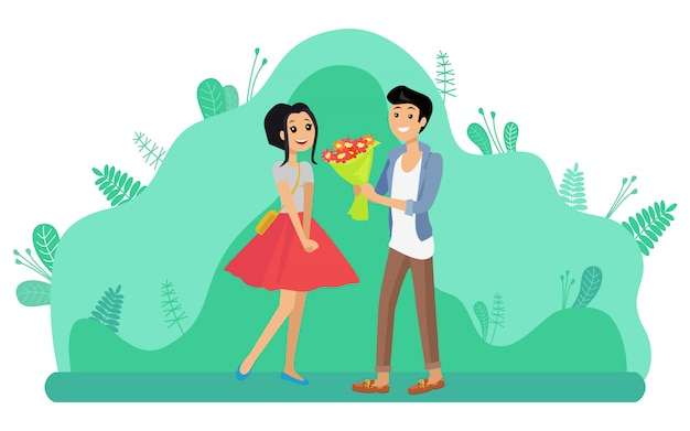 Uomo che dà a ragazza bouquet di fiori, incontri di coppia