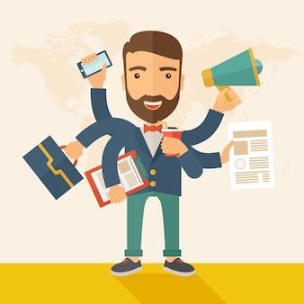 Uomo che fa il multitasking