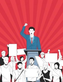 Uomo che fa un discorso e il pubblico con l'insegna
