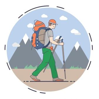Uomo che fa un'escursione illustrazione piatta