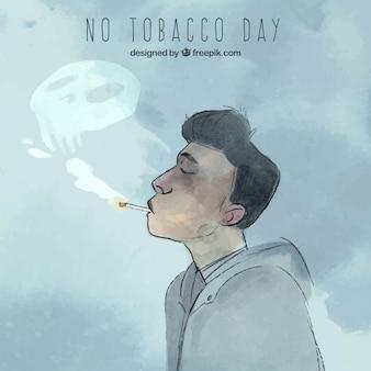 Uomo che fuma con il cranio di fumo