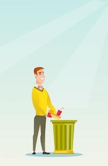 Uomo che getta cibo spazzatura