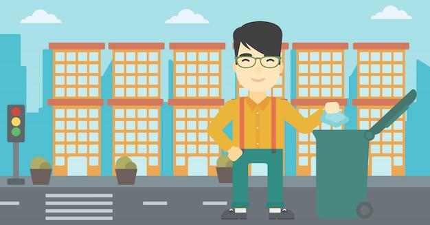 Uomo che getta via l'illustrazione di vettore dei rifiuti.
