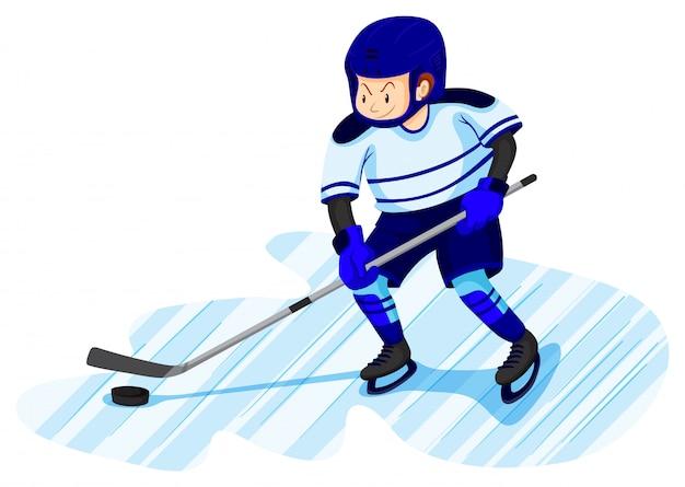 Uomo che gioca a hockey su ghiaccio