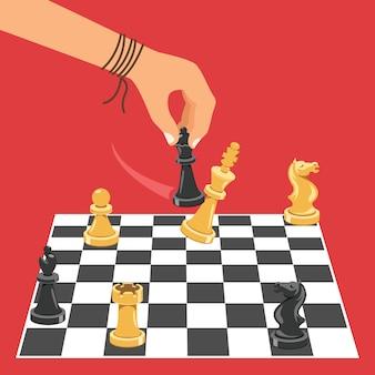 Uomo che gioca il gioco degli scacchi