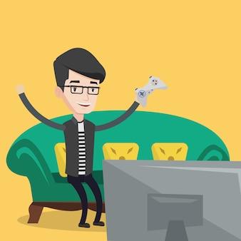 Uomo che gioca l'illustrazione del videogioco.