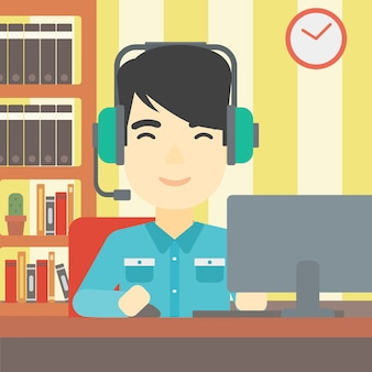 Uomo che gioca l'illustrazione di vettore del gioco di computer.